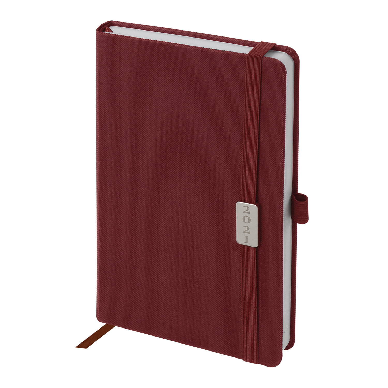 """Ежедневник датированный 2021 А5 (138х213 мм) BRAUBERG """"Control"""", кожзам, держатель для ручки, красный, 111475"""