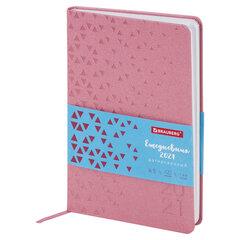 "Ежедневник датированный 2021 А5 (138х213 мм) BRAUBERG ""Glance"", кожзам, розовый, 111478"