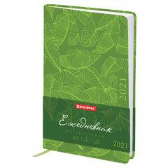 "Ежедневник датированный 2021 А5 (138х213 мм) BRAUBERG ""Foliage"", кожзам, зеленый, 111481"