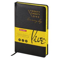 "Ежедневник датированный 2021 А5 (138х213 мм) BRAUBERG ""Chameleon"", кожзам, черный/желтый, 111486"