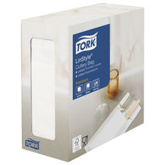 """Конверты бумажные нетканые для столовых приборов TORK """"LinStyle Premium"""", 39х39 см, 60 шт., белые, 477227"""