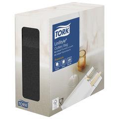 """Конверты бумажные нетканые для столовых приборов TORK """"LinStyle Premium"""", 39х39 см, 60 шт., черные, 477238"""