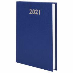 Ежедневник датированный 2021 А5 (145х215 мм), бумвинил, STAFF, синий,111812