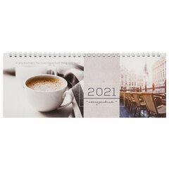 """Планинг датированный 2021 (285х112 мм), STAFF, картонная обложка на спирали, 60 л., """"Кофе"""", 111830"""