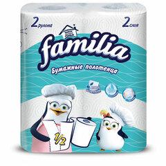 Полотенца бумажные бытовые, спайка 2 шт., 2-слойные (2х12,5 м), FAMILIA, 23x13 см, белые