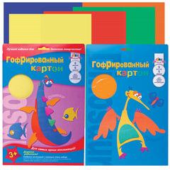 Цветной картон, А4, гофрированный, 5 листов, 5 цветов, АППЛИКА, 205х290 мм