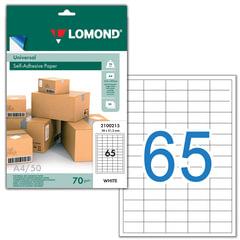 Этикетка самоклеящаяся LOMOND на листе формата А4, 65 этикеток, размер 38х21,2 мм, белая, 50 л., 2100215