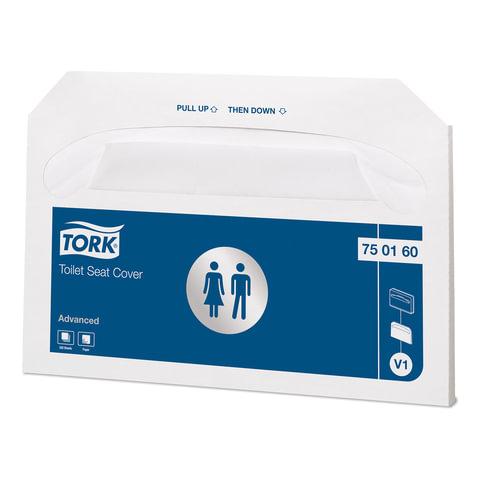 Покрытия на унитаз TORK (Система V1) Advanced, бумажные, 250 шт., белые, 37х42 см, 750160