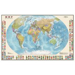 """Карта настенная """"Мир. Политическая карта с флагами"""", М-1:30 млн., размер 122х79 см, ламинированная, 638"""