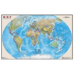 """Карта настенная """"Мир. Политическая карта"""", М-1:25 млн., размер 122х79 см, ламинированная, тубус"""