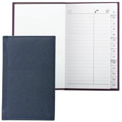 """Телефонная книжка МАЛЫЙ ФОРМАТ (80х130 мм) А7, BRAUBERG """"Favorite"""", под классическую кожу, 56 л., вырубка, темно-синяя,123510"""
