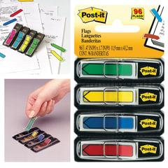 Закладки клейкие POST-IT, 12 мм, 4 цвета х 24 л., (3М, США)
