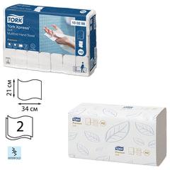 Полотенца бумажные 110 штук, TORK (Система H2) Premium, КОМПЛЕКТ 21 штука, 2-слойные, белые, 21х34, Interfold