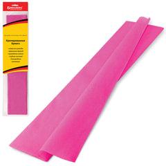 Цветная бумага крепированная BRAUBERG (БРАУБЕРГ), стандарт, растяжение до 65%, 25 г/м2, европодвес, розовая, 50х200 см