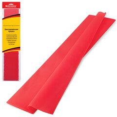 Цветная бумага крепированная BRAUBERG (БРАУБЕРГ), стандарт, растяжение до 65%, 25 г/м2, европодвес, красная, 50х200 см