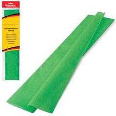 Цветная бумага крепированная BRAUBERG (БРАУБЕРГ), стандарт, растяжение до 65%, 25 г/м2, европодвес, зеленая, 50х200 см
