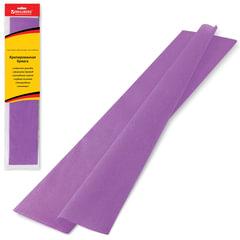 Цветная бумага крепированная BRAUBERG (БРАУБЕРГ), стандарт, растяжение до 65%, 25 г/м2, европодвес, фиолетовая, 50х200 см