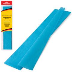 Цветная бумага крепированная BRAUBERG (БРАУБЕРГ), стандарт, растяжение до 65%, 25 г/м2, европодвес, бирюза, 50х200 см