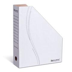 Лоток вертикальный для бумаг, микрогофрокартон, 75 мм, до 700 листов, белый, BRAUBERG