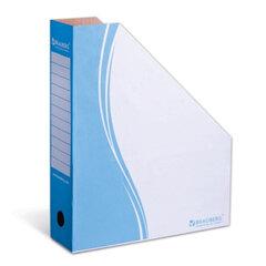 Лоток вертикальный для бумаг, микрогофрокартон, 75 мм, до 700 листов, синий, BRAUBERG