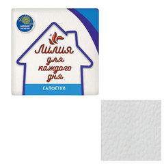"""Салфетки бумажные, 100 шт., 24х24 см, """"Лилия"""", белые, 100% целлюлоза"""