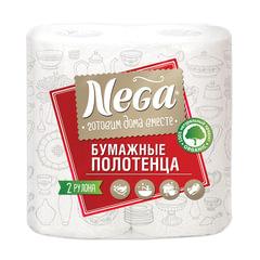 "Полотенца бумажные бытовые, спайка 2 шт., 2-х слойные (2х13,2 м), NEGA (""Нега""), белые"
