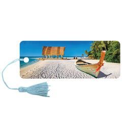 "Закладка для книг с линейкой ""Лагуна"", объемная 3D, декоративный шнурок-завязка, 152х57 мм, BRAUBERG"