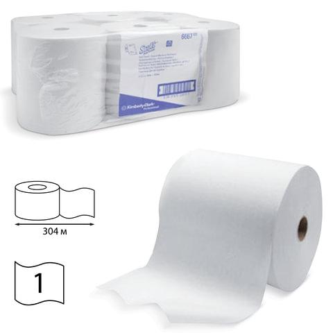 Полотенца бумажные рулонные KIMBERLY-CLARK Scott, комплект 6 шт., 304 м, белые, диспенсер 601536, АРТ. 6667
