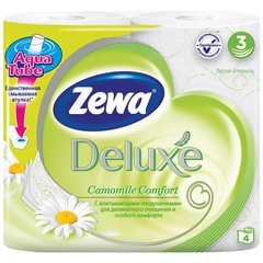 Бумага туалетная бытовая, спайка 4 шт., 3-х слойная (4х19 м), ZEWA Delux, аромат ромашки