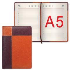 """Ежедневник GALANT недатированный, А5, 148х218 мм, """"Kassel"""", 160 л., комбинированная кожа, коричневый/светло-коричневый"""