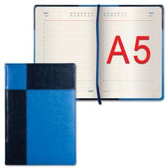 "Ежедневник GALANT недатированный, А5, 148х218 мм, ""Kassel"", 160 л., комбинированная кожа, синий/голубой"
