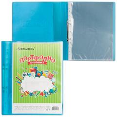 Папка для портфолио школьника, 2 кольца, 20 файлов, пластик, полупрозрачный, синяя, BRAUBERG