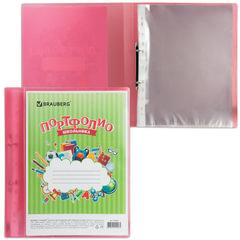 Папка для портфолио школьника, 2 кольца, 20 файлов, пластик полупрозрачный, красная, BRAUBERG