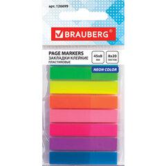 Закладки клейкие BRAUBERG НЕОНОВЫЕ, пластиковые, 45х8 мм, 8 цветов х 20 листов, в пластиковой книжке, 126699