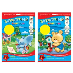 Цветной картон, А4, бархатный, 5 листов, 5 цветов, АППЛИКА, 205х290 мм
