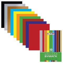 "Цветная бумага, А4, мелованная, 10 листов, 10 цветов, HATBER, ""Creative"", 195х280 мм"