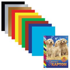 """Цветной картон, А4, мелованный, склейка, 10 листов, 10 цветов, HATBER VK, """"Щенки"""", 195х275 мм"""