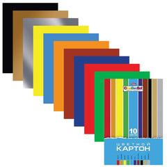 """Цветной картон, А4, мелованный, 10 листов, 10 цветов, HATBER, """"Creative"""", 195х280 мм"""
