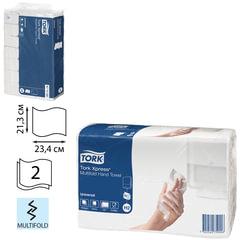 Полотенце бумажное КОМПЛЕКТ 190 шт., TORK (Система H2) Universal, 2-слойное, натуральный, 23,4х21,3 см, Multifold