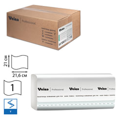 Полотенца бумажные 250 шт., VEIRO (Система H3/F1), комплект 15 шт., Basic, белые, 21х21,6, V, KV104