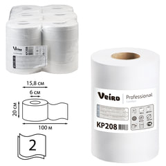 Полотенца бумажные с центральной вытяжкой VEIRO (Система M2/C1,C2), комплект 6 шт., Comfort, 100 м, 2-слойные, белые, KP208