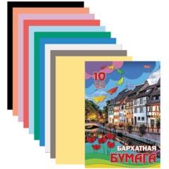 """Цветная бумага, А4, бархатная, 10 листов, 10 цветов, HATBER, """"Городок"""", 180х255 мм"""