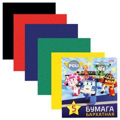 """Цветная бумага, А5, бархатная, 5 листов, 5 цветов, HATBER, """"Машинки"""" (""""Robocar""""), 170х180 мм"""