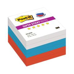 "Блоки самоклеящиеся (стикеры) POST-IT Super Sticky, комплект 6 шт., ""Триколор"", 76х76 мм, 90 л., ассорти"