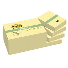 Блоки самоклеящиеся (стикеры) POST-IT Optima, комплект 12 шт., 38х51 мм, 100 л., желтый
