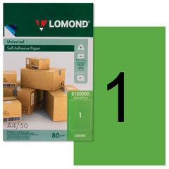 Этикетка самоклеящаяся 210х297 мм, 1 этикетка, зеленая, 80 г/м2, 50 листов, LOMOND, 2120005