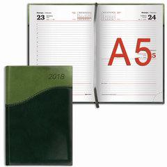 """Ежедневник датированный 2018, А5, BRAUBERG """"Bond"""", комбинированный, зеленый/салатовый, 138х213 мм"""