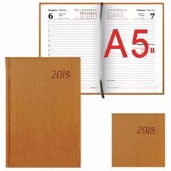 """Ежедневник датированный 2018, А5, BRAUBERG """"Natural"""", стильная кожа, коричневый, 138х213 мм"""