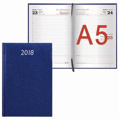 "Ежедневник датированный 2018, А5, BRAUBERG ""Profile"", ""фактурная кожа"", синий, 138х213 мм"