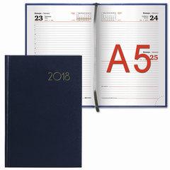 """Ежедневник датированный 2018, А5, BRAUBERG """"Select"""", """"кожа классик"""", темно-синий, 138х213 мм"""
